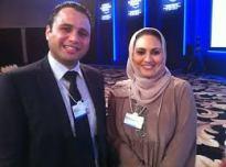 بهاء مع الإعلامية منى أبو سليمان في منتدى دافوس البحر الميت