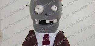 Terrible-Gray-Zombie-Kyonshii-The-Plants-VS-Zombies-Mascot-Costume-Cartoon-Character-With-Rose-Red-Tie
