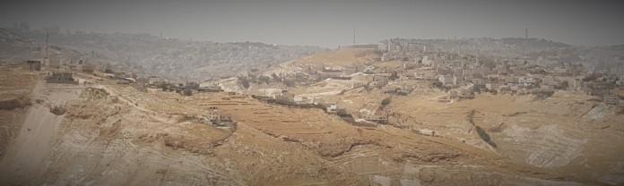 منظر عام لمدينة القدس من العبيدية وتظهر قبة الصخرة